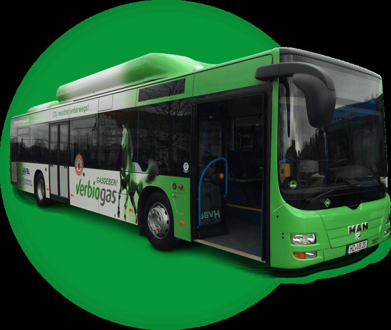 Stadtbus für Stadtwerke fährt mit Biogas von verbiogas